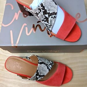 Crown Vintage Leather Snake Print Coral Sandal